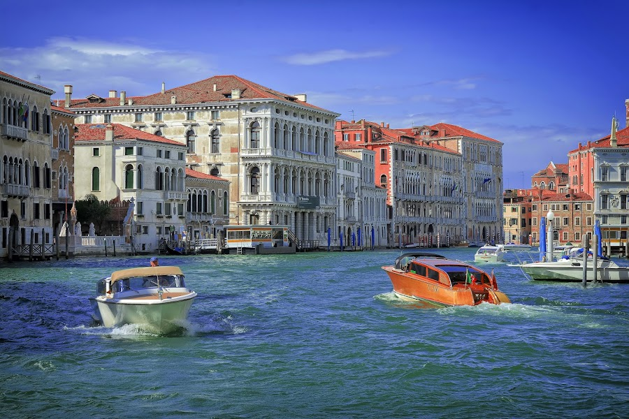 Grand Canal, Venice by Cristian Peša - City,  Street & Park  Vistas ( boats, grand canal, venice, historic district, historic )