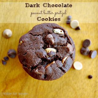 Dark Chocolate Peanut Butter Pretzel Cookies
