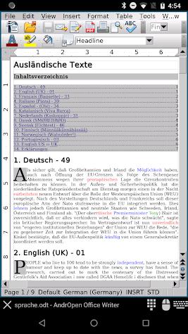 AndrOpen Office Screenshot