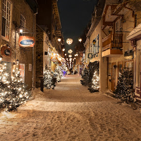 Quebec City at Night by Maggie B - Buildings & Architecture Public & Historical ( lights, winter, snow, quebec city, travel )