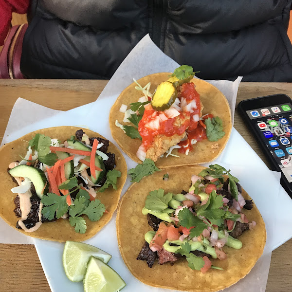 I posted a review here is photo. Fried chicken taco, Korean short rib taco and steak taco! Excellent