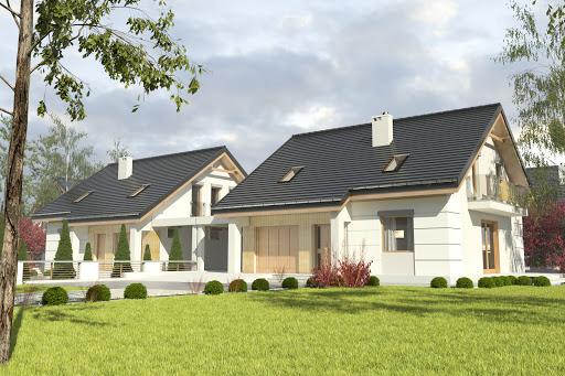 projekt Nowinka III z garażem i wiatą bliźniak A1-BL1