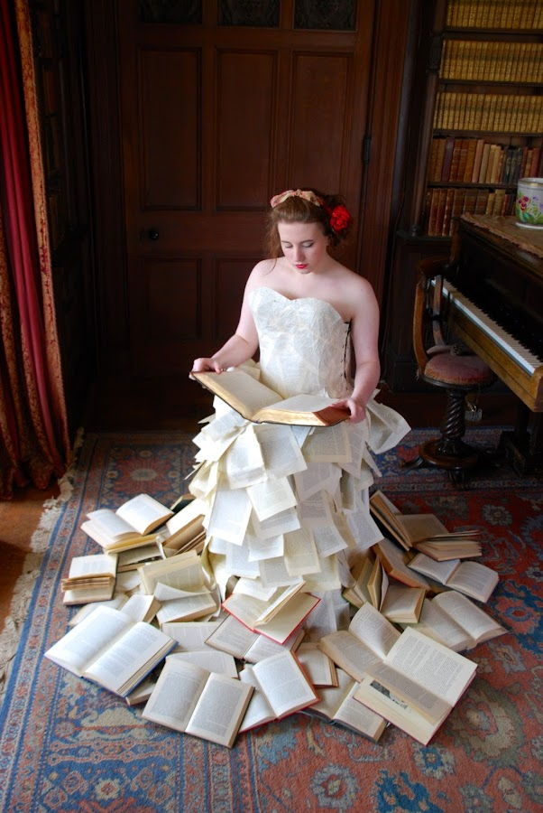 Within The Books by Ben Tully - People Fashion ( amazing, books, fashion, dress, woman, paper, library, national trust )