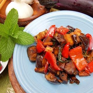 Stir Fried Thai Basil with Tofu and Eggplant.