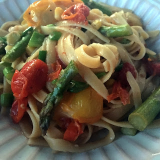 Spring Vegetable Fettuccine with White Wine Sauce.