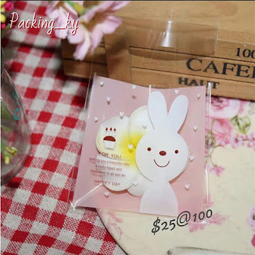 💕兔仔波點包裝自粘袋