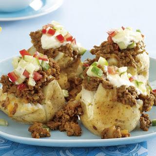 Baked Potatoes Stuffed with Nacho Chili.