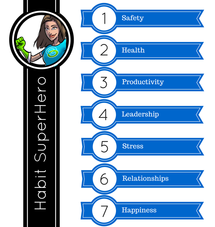 List of 7 habit categories: Safety, health, productivity, leadership, stress, relationships, and happiness.