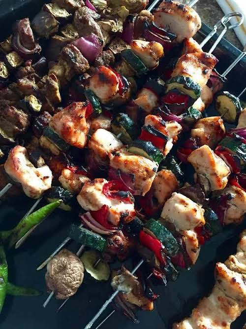 """Skewed Veggies and Meat Grill """"Marinade meat of your choice in lemon..."""