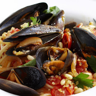 Chili Mussel Spaghetti with Pine Nut Crumble.
