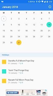 2018 Calendar for Sri Lanka - náhled