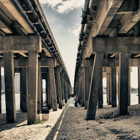 Off Shore Drive by Nathaniel Jorge - Buildings & Architecture Bridges & Suspended Structures ( sand, hdr, bridge, beach, virginia beach, shadows )