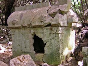Photo: Typical Lycian Sarcophagus built for Antimachos, 2nd century AD.********** Typisch Lycische Sarcofaag uit de 2de eeuw voor Antimachos.