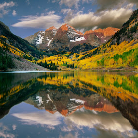 Maroon Bells by Ron Azevedo - Landscapes Mountains & Hills
