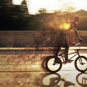 by Kiril Krastev - Digital Art People ( panning, bike, speed, biker, street, bmx, sofia, bulgaria )