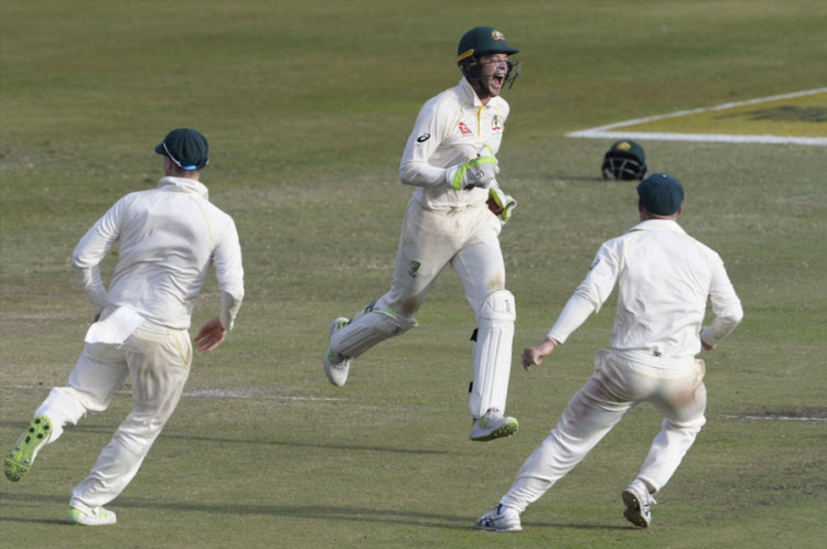 Wicket-keeper Tim Paine of Australia celebrates the wicket of Aiden Markram of the Proteas during day 4 of the 1st Sunfoil Test match at Sahara Stadium Kingsmead on March 04, 2018 in Durban, South Africa.