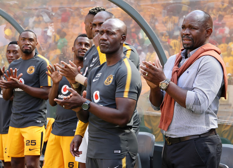 Kaizer Chiefs head coach Steve Komphela and his bench applauds during the Nedbank Cup Last 32 match against Lamontville Golden Arrows at FNB Stadium, Johannesburg South Africa on 11 February 2018.