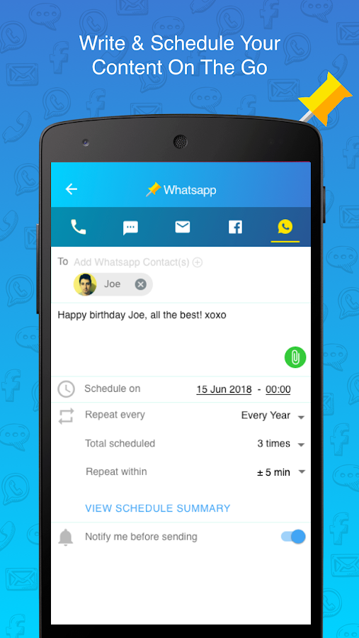 SQEDit Scheduling App: Schedule Whatsapp SMS Calls- screenshot