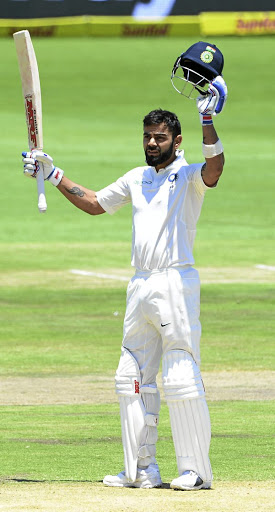 India captain Virat Kohli celebrates a superb knock of 150 before going out on Monday. Picture: GALLO IMAGES