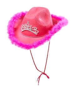 Cowgirlhatt, rosa med tiara