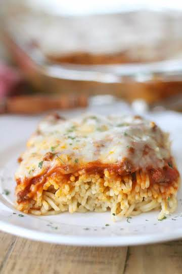 Easy Baked Spaghetti (Spasagna) - The Country Cook main dishes