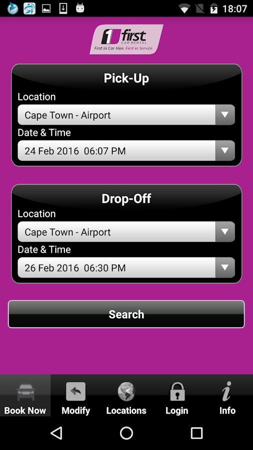 First Car Rental Booking App- screenshot