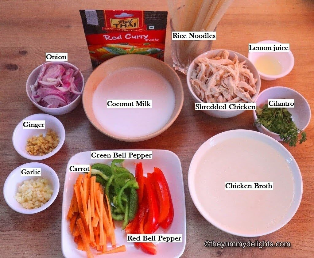 image of the ingredients for making Thai red curry chicken noodle soup