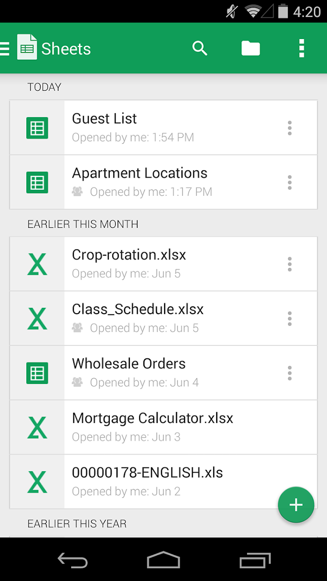 Google Sheets Android 2