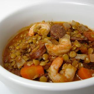 Chorizo, Shrimp & Lentil Stew