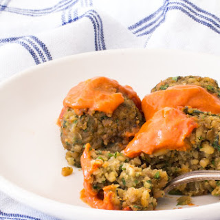Vegan Baked Falafel with Spicy Moroccan Sauce