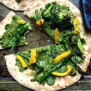 Roasted Vegetable and Pesto Flatbread Pizzas.