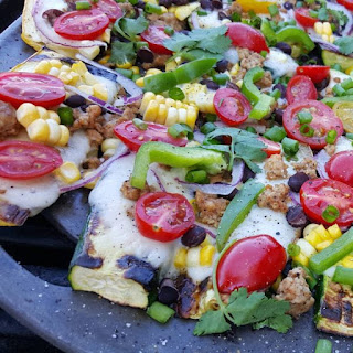 Grilled Zucchini Mexican Pizzas.