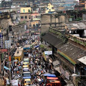 CITY OF CROWD by Debashis Mukherjee - City,  Street & Park  Street Scenes