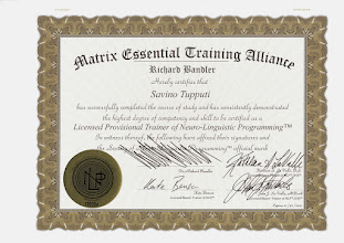 Photo: Licensed Provisional Trainer of Neuro-Linguistic Programming