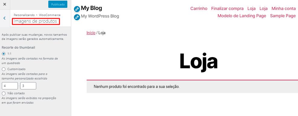 personalizar com imagens a página de produtos da loja virtual do WooCommerce pelo WordPress