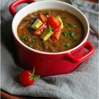 Slow Cooker Chipotle Lentil Soup with Avocado.