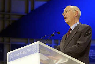 Photo: NEW YORK, 3FEB02 - Klaus Schwab, Founder and President of the World Economic Forum, delivers his speech during a special session with King Abdullah Hussein of Jordan at the 32nd Annual Meeting of the World Economic Forum at the Waldorf-Astoria hotel in New York on February 3, 2002. 