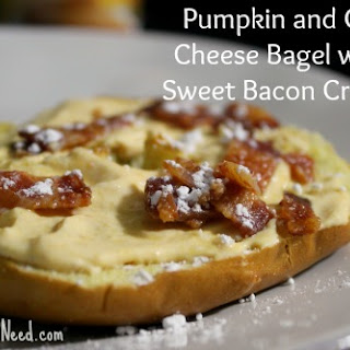 Pumpkin and Goat Cheese Bagel with Sweet Bacon