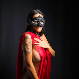 The Mystery of a Woman by Alfredo Hernandez - Nudes & Boudoir Boudoir ( woman, sexy, tattoos, skin, masks, nudes )