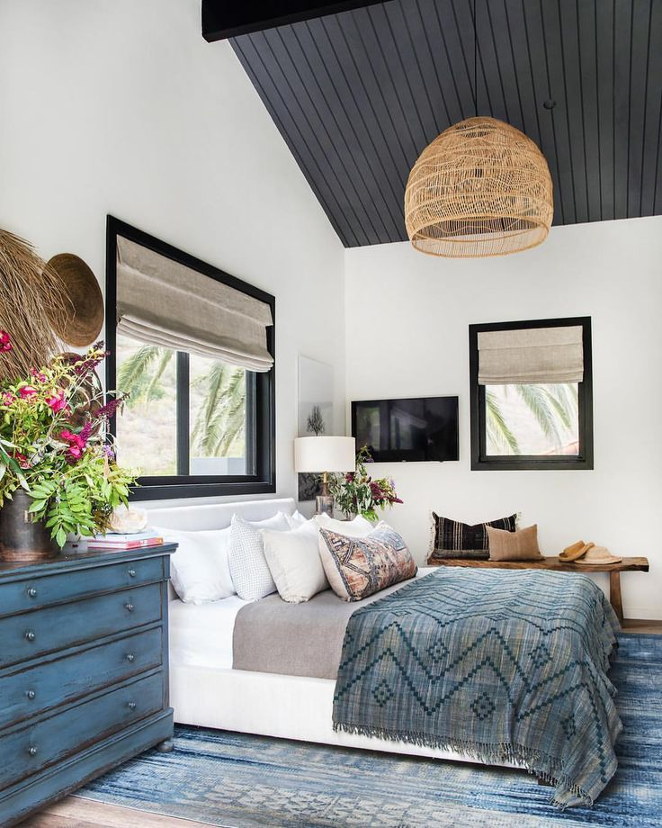 Bedroom with Touches of Blue in Bohemian Style