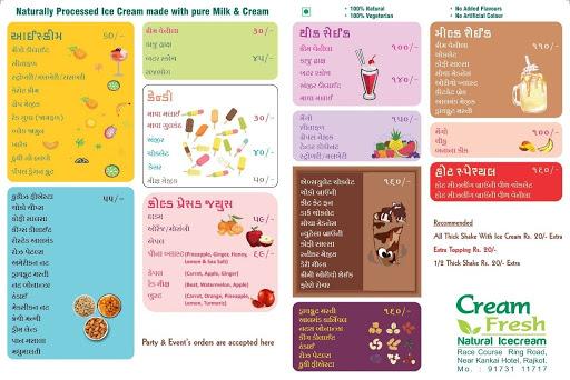Cream Fresh Natural Icecream menu 1