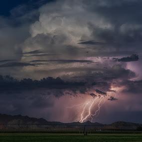 Blue moon Lightning by Bryan Snider - Landscapes Weather ( desert, monsoon, thunderstorm, maricopa, blue moon, storm, bolts, farm, mountains, lightning, arizona monsoon, arizona, weather, storms, rain, fields,  )