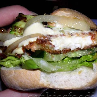 Sophie's Vegetarian Haloumi Burger With All Of Its Trimmings!