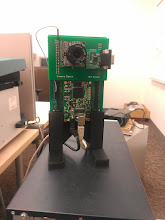 Photo: Camera prototype, in stand.