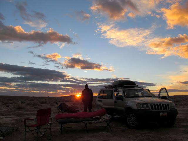 Watching sunrise at camp