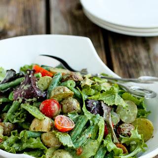 Roasted Potato Green Bean Salad with Basil Buttermilk Dressing
