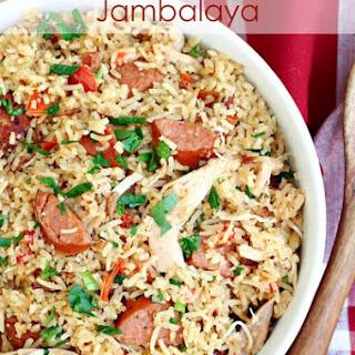 Rice Cooker Chicken and Sausage Jambalaya.