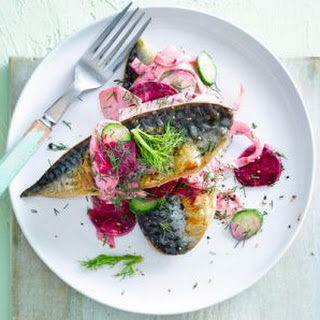 Pan-fried Mackerel Fillets With Beetroot & Fennel.