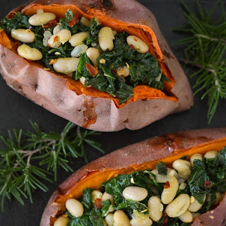 Stuffed Sweet Potatoes with Beans and Greens.
