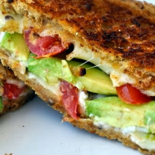Avocado Tomato Grilled Cheese Sandwich.